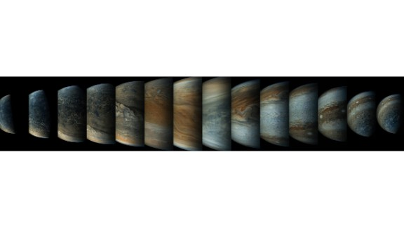 This sequence of enhanced-color images shows how quickly the viewing geometry changes for NASA