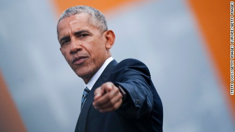 BERLIN, GERMANY - MAY 25: Former President of the United States of America Barack Obama gestures after a discussion on democracy at Church Congress on May 25, 2017 in Berlin, Germany. Up to 200,000 faithful are expected to attend the five-day congress in Berlin and Wittenberg which is celebrating the 500th anniversary of the Reformation. (Photo by Steffi Loos/Getty Images)
