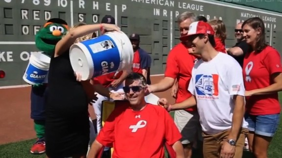 Pete Frates takes part in the Ice Bucket Challenge, a fundraiser to fight ALS.
