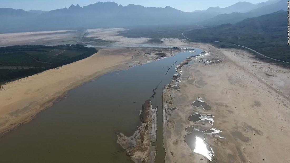 The Theewaterskloof Dam on May 8 experienced an extremely low water level.