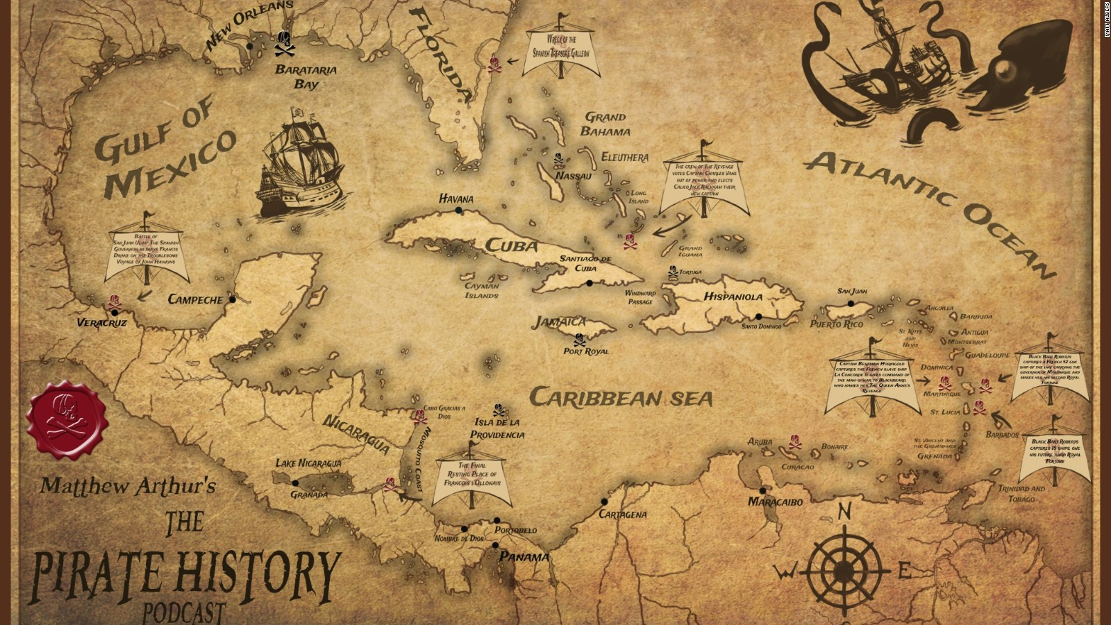 Pirate World Map.The Real Pirates Of The Caribbean Cnn Travel