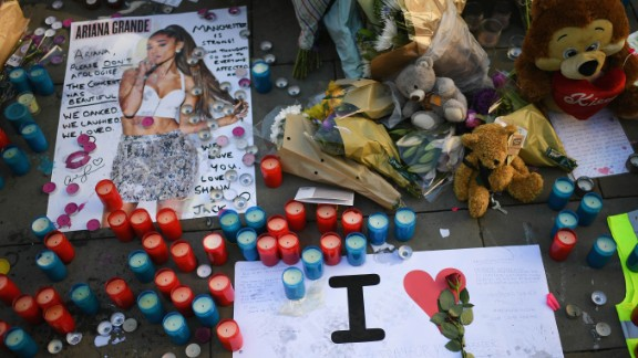 Tributes left in St. Ann's Square for the people who died in the Manchester terror attack.