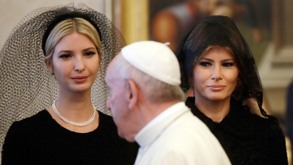 TOPSHOT - Pope Francis (C) walks past US First Lady Melania Trump (R) and the daughter of US President Donald Trump Ivanka Trump (L) at the end of a private audience at the Vatican on May 24, 2017. US President Donald Trump met Pope Francis at the Vatican today in a keenly-anticipated first face-to-face encounter between two world leaders who have clashed repeatedly on several issues. / AFP PHOTO / POOL / Alessandra Tarantino        (Photo credit should read ALESSANDRA TARANTINO/AFP/Getty Images)