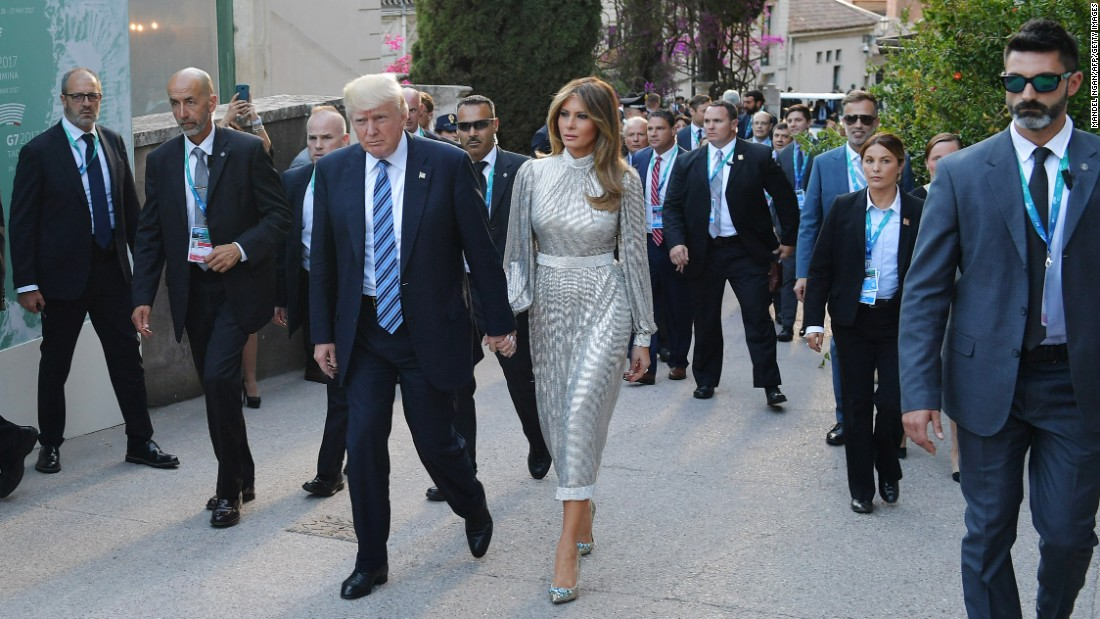 President Donald Trump and his wife, Melania, arrive for a concert of the La Scala Philharmonic Orchestra while in Taormina, Italy, on Friday, May 26. The Trumps are in Italy for a two-day G-7 summit.