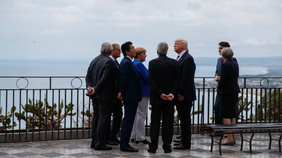 G-7 leaders congregate during a walking tour on May 26.