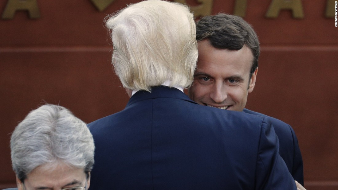 Trump embraces new French President Emmanuel Macron on May 26.