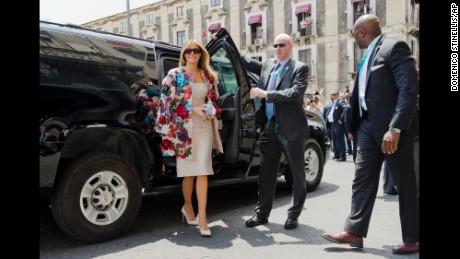 US First Lady Melania Trump arrives at the City Hall, Palazzo degli Elefanti, in the Sicilian town of Catania, Italy, Friday, May 26, 2017, for a visit with some of the G7 leaders' partners. The leaders of G7 countries are gathering in the Sicilian citadel of Taormina, Italy, on May 26th and 27th. (AP Photo/Domenico Stinellis)