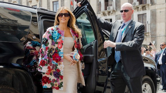 Melania Trump arrives at the City Hall in Catania, Italy, on May 26. She was wearing a $51,500 Dolce & Gabbana jacket as she met with other spouses of G-7 leaders.