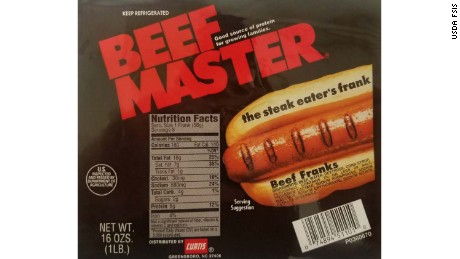 Curtis Beef Master franks are among the 210,606 pounds of hot dogs being recalled.