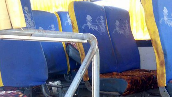 epa05991683 The site of an armed attack on a bus near the Monastery of St Samuel the Confessor, in Minya Province, central Egypt, 26 May 2017. According to news reports, a group of Coptic Christians were attacked in their bus en route to the Monastery when gunmen opened fire on them, killing at least 20 and injuring dozens.  EPA/STR EGYPT OUT BEST QUALITY AVAILABLE