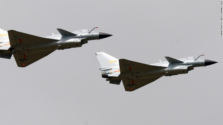 Chinese J-10 fighters fly at Airshow China in Zhuhai in 2010.