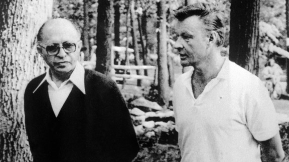 Zbigniew Brzezinski, the national security adviser to President Jimmy Carter, died May 26 at age 89. Brzezinski is seen here at right talking with Israeli Prime Minister Menahem Begin in 1978.
