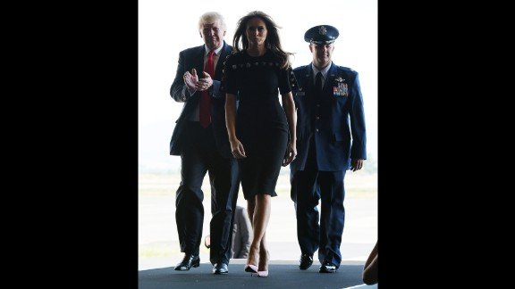 President Trump and first lady Melania Trump arrive on May 27, to address US military personnel and families at Naval Air Station Sigonella.