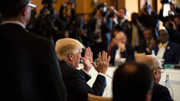President Trump gestures on May 27, during a G-7 session.