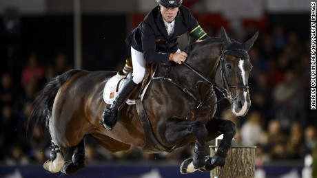 "Second classed Sweden's Rolf-Goran Bengtsson competes with ""Casall la Silla"" during the Grand prix of the Global Champions tour 2012 on September 15, 2012 in Lausanne.  AFP PHOTO / FABRICE COFFRINI        (Photo credit should read FABRICE COFFRINI/AFP/GettyImages)"