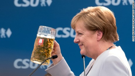 "Merkel's address to supporters is being dubbed the ""beer tent speech""."