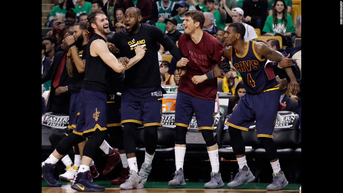 "The Cleveland Cavaliers celebrate a basket from the bench during Game 5 of the NBA's Eastern Conference Finals on Thursday, May 25. The Cavaliers blew out Boston to clinch the series and set up <a href=""http://www.cnn.com/2017/05/26/sport/2017-nba-finals-preview/index.html"" target=""_blank"">a much-anticipated rematch</a> with the Golden State Warriors."