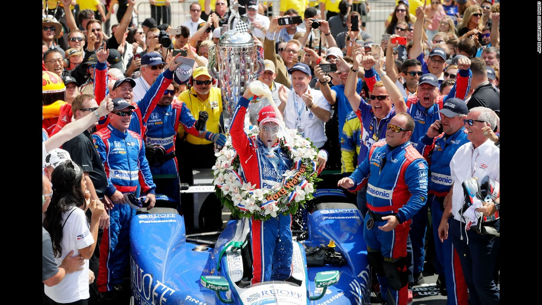 "Takuma Sato dumps milk on his head Sunday, May 28, after becoming the first Japanese driver <a href=""http://www.cnn.com/2017/05/28/sport/indianapolis-500/"" target=""_blank"">to win the Indianapolis 500.</a> Milk has long been a tradition at the legendary race."