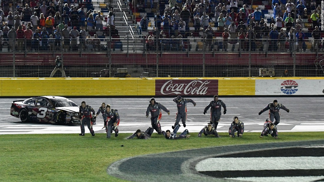 NASCAR driver Austin Dillon and his crew celebrate their Cup Series win at Charlotte Motor Speedway on Sunday, May 28.
