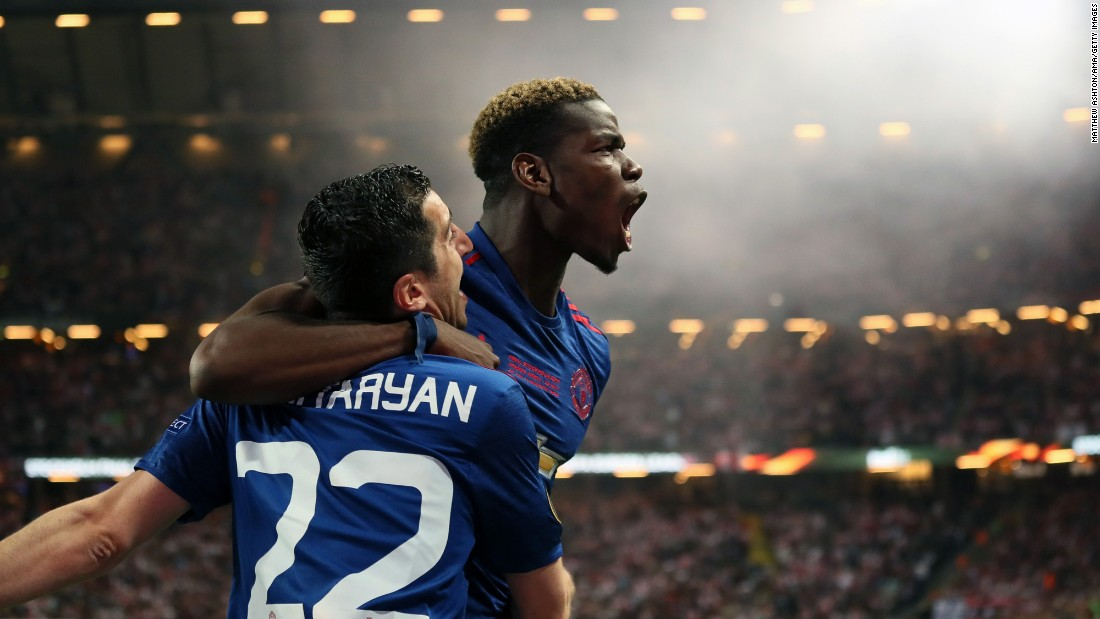 "Paul Pogba hugs Manchester United teammate Henrikh Mkhitaryan after Mkhitaryan scored the second goal in the Europa League final on Wednesday, May 24. <a href=""http://www.cnn.com/2017/05/24/football/manchester-united-ajax-europa-league/index.html"" target=""_blank"">United defeated Ajax 2-0</a> to win the title and clinch a spot in next season's Champions League."