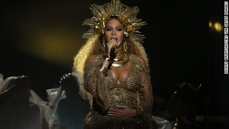 LOS ANGELES - FEBRUARY 12: Beyonce performs during THE 59TH ANNUAL GRAMMY AWARDS, broadcast live from the STAPLES Center in Los Angeles, Sunday, Feb. 12 (8:00-11:30 PM, live ET/5:00-8:30 PM, live PT; 6:00-9:30 PM, live MT) on the CBS Television Network. (Photo by Monty Brinton/CBS via Getty Images)