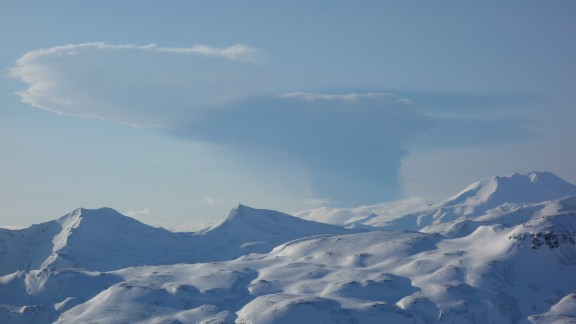 An ash cloud from the erupting Bogoslof volcano, seen from nearby Unalaska island.