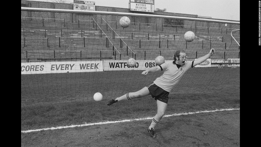 John is overwhelmed by multiple shots on goal while playing around at Watford's stadium in 1974.