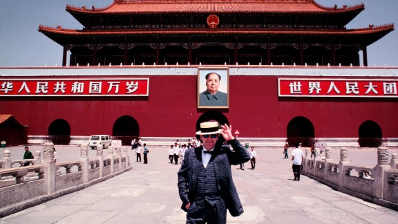 John stands in Tiananmen Square while touring Beijing in 1983.