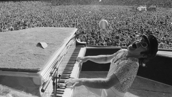 John performs at Dodger Stadium in Los Angeles in 1975.