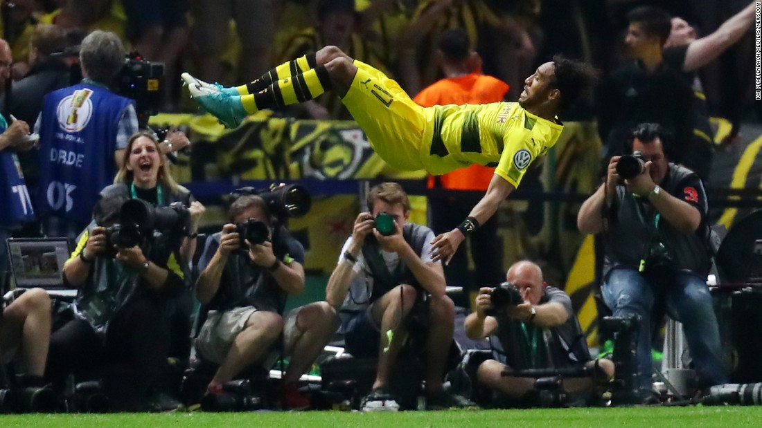 Dortmund's Pierre-Emerick Aubameyang goes horizontal as he celebrates his goal in the German Cup final on Saturday, May 27. Dortmund won the match 2-1.