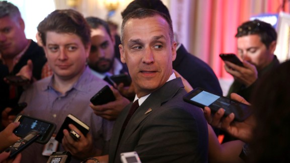 PALM BEACH, FL - MARCH 11:  Corey Lewandowski campaign manager for Republican presidential candidate Donald Trump speaks with the media before former presidential candidate Ben Carson gives his endorsement to Mr. Trump at the Mar-A-Lago Club on March 11, 2016 in Palm Beach, Florida. Presidential candidates continue to campaign before Florida