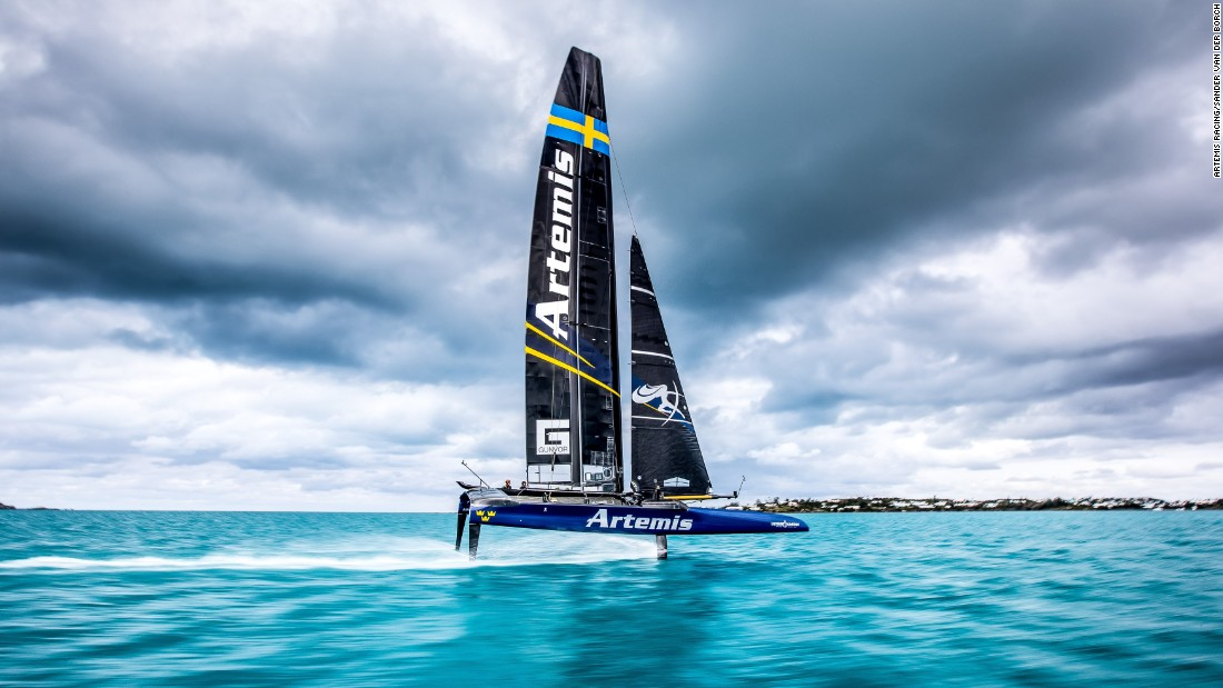 "<strong>Artemis Racing: </strong>""Taken on the Great Sound in Bermuda, March 2017. This image was taken with a very slow shutter speed of 1/25th of second to get the movement in the water. I like it because the lines of the clouds work nicely with the boat in the middle. They drag you into the middle of the frame. Normally the subject in the middle of the photo doesn't work but here with these clouds it does"" -- Sander Van der Borch."
