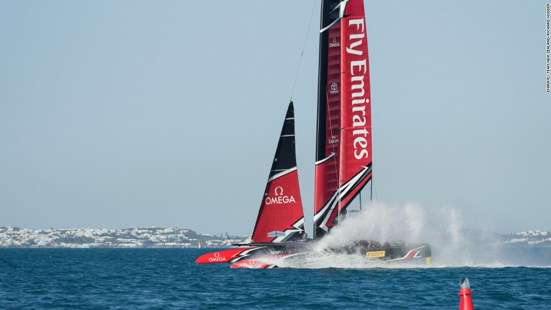 "<strong>Emirates Team New Zealand:</strong> ""When the hull touches down and the boat leaves a trail of water it makes me want to be onboard and feel the energy rushing past, to be really part of the action and to experience the speed. The image helps show pace, even if touching down on the water is not the goal if you are looking for top straight-line speed ... but for me it captures the movement. I love the pre-start where the boats often need to kill their speed and touch down and dunk themselves in the drink -- it's often the most exciting when a hull touches the water at speed"" -- Richard Hodder."