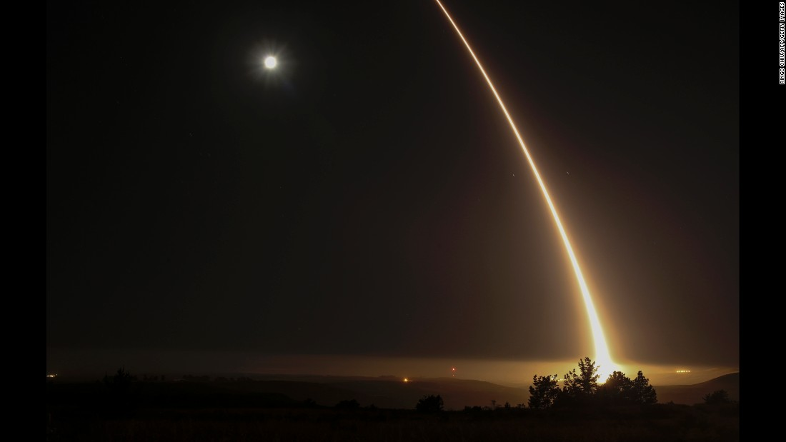 "An unarmed long-range missile <a href=""http://www.cnn.com/2017/05/03/politics/air-force-test-icbm/"" target=""_blank"">is test-fired</a> at Vandenberg Air Force Base in California on Wednesday, May 3. The Minuteman III traveled 4,200 miles to a test range near the Marshall Islands."