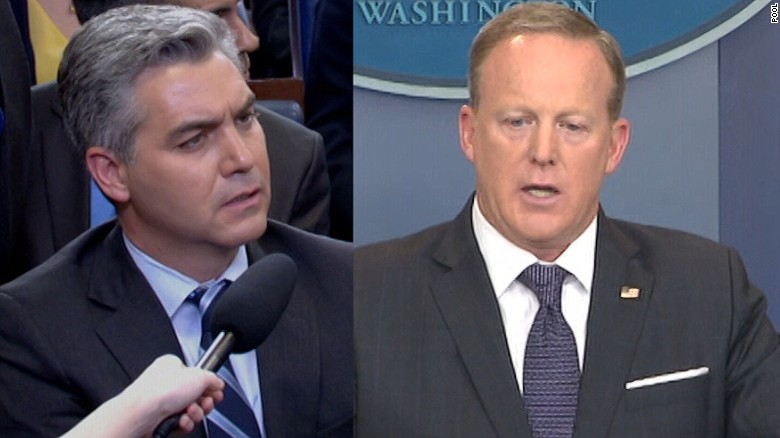 Spicer spars with reporters over 'fake news'