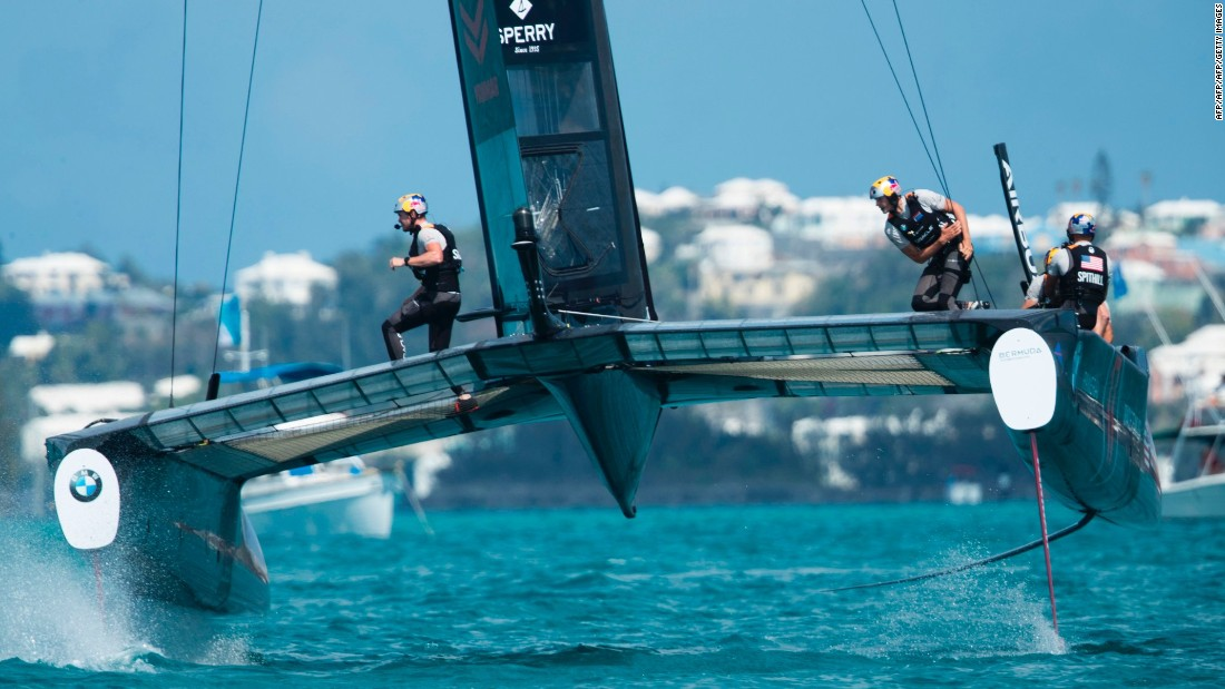 The 35th America's Cup is underway in the azure blue waters of Bermuda's Great Sound. Over the coming weeks, four teams will take to the waves to challenge for the right to face off against reigning champions, Oracle Team USA. Jimmy Spithill, skipper of the US team, competes during the second day of racing on May 28.