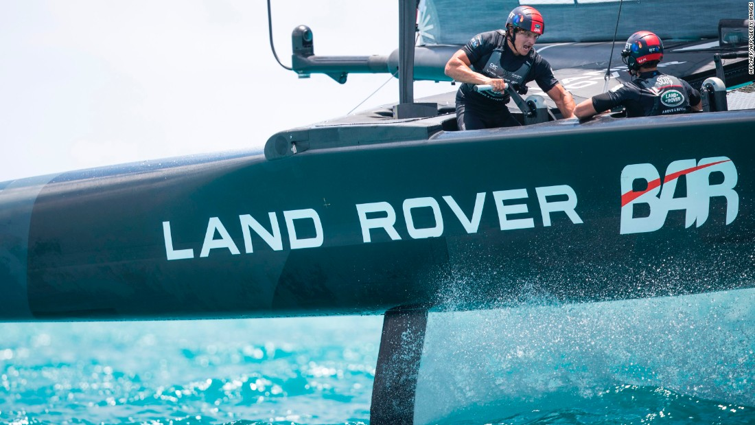 An invasion of 200,000 fans is expected for the event, with many boarding on cruise ships. Here, the Land Rover BAR team, skippered by Ben Ainslie, takes to the water.