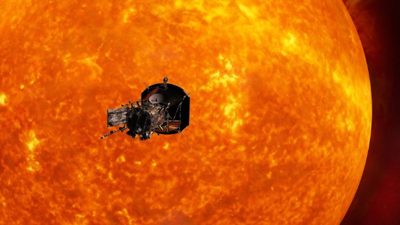 Artist's concept of the Solar Probe Plus spacecraft approaching the sun. In order to unlock the mysteries of the corona, but also to protect a society that is increasingly dependent on technology from the threats of space weather, we will send Solar Probe Plus to touch the sun.