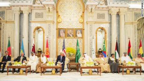 Trump meets leaders from Oman, Bahrain, Kuwait and Saudi Arabia at the US Gulf Summit in Riyadh in May, 2017.