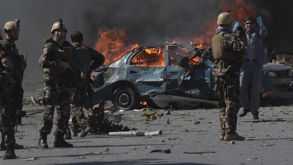 Afghan security forces patrol the site of a deadly suicide bomb attack in Kabul, Afghanistan, on Wednesday, May 31. The blast struck near th