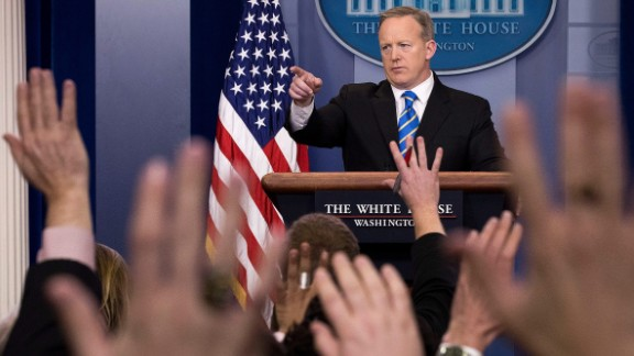 WASHINGTON, DC - JANUARY 24: White House Press Secretary Sean Spicer takes questions during the daily press briefing in the James Brady Press Briefing Room at the White House, January 24, 2017 in Washington, DC. Spicer did not offer evidence to support President Trump's claim that millions of people voted illegally. (Photo by Drew Angerer/Getty Images)