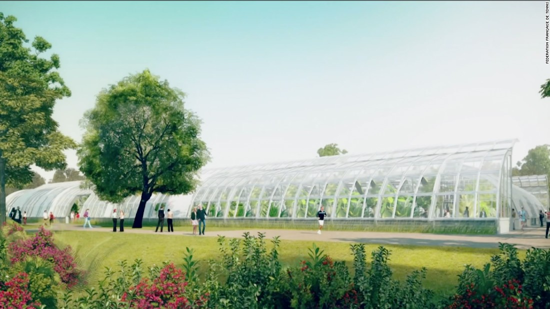 An artist's impression of botanical gardens at a renovated Roland Garros.