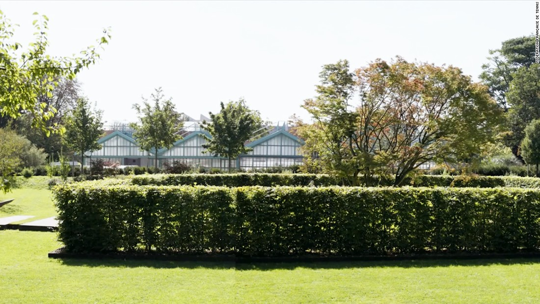 "The current site of the Jardin des Serres d'Auteuil is pictured. According to planning details, the area will be linked to the existing tournament site and allow spectators to ""relax and stroll.""<br />"
