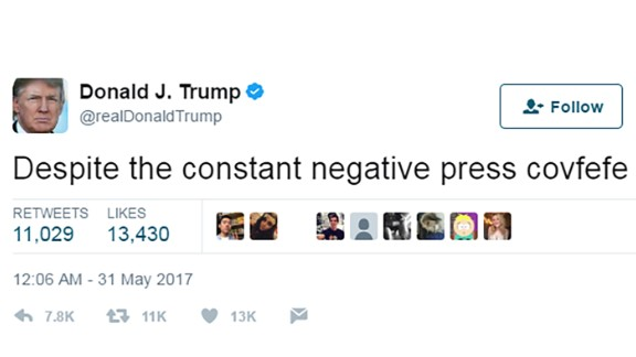 """US President Donald Trump tweeted """"Despite the constant negative press covfefe,"""" a clause with no context at 12:06 a.m. ET on May 31."""
