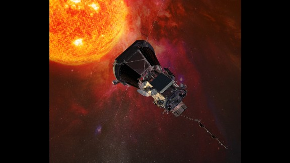 This is an illustration of the Parker Solar Probe spacecraft approaching the sun. The NASA probe will explore the sun