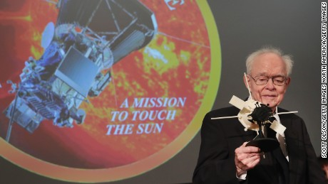 CHICAGO, IL - MAY 31:  University of Chicago astrophysicist Dr. Eugene Parker is presented with a model of the Parker Solar Probe at an event where NASA officials announced plans to deploy a solar probe into the sun's atmosphere for the first time on May 31, 2017 in Chicago, Illinois.  Scheduled to be launch in the summer of 2018,  the probe will be named the Parker Solar Probe in Dr. Parker's honor. (Photo by Scott Olson/Getty Images)