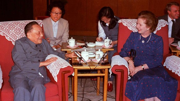 Chairman of the Chinese Communist Party Central Advisory Committee, Deng Xiaoping (L) and British Prime Minister Margaret Thatcher (R) talk in a file photo dated 24 September 1982 at the Great Hall of the People in Beijing during one of their meetings leading up to the signing of the Sino-British Joint Declaration on the future of Hong Kong on 26 September in 1984, setting up the territory as a Special  Administrative Region of China. . CHINA OUT / AFP / XINHUA / STR        (Photo credit should read STR/AFP/Getty Images)