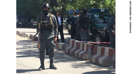 An Afghan security officer is  seen in Kabul on Thursday amid a heightened security presence.