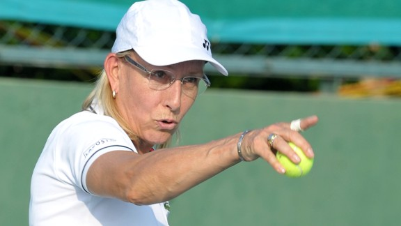 Former US tennis player Martina Navratilova takes part in a mixed doubles exhibition match during the Tennis Masters Hyderabad 2015 at the Sania Mirza Tennis Academy (SMTA) in Hyderabad on November 26, 2015. Former US player Martina Navratilova paired with Indian tennis player  Mahesh Bhupathi  to play a mixed doubles match against Indian pair Sania Mirza and Leander Paes. Mirza and Paes won the match by 6-2,7-6 (7-3).  / AFP / NOAH SEELAM        (Photo credit should read NOAH SEELAM/AFP/Getty Images)