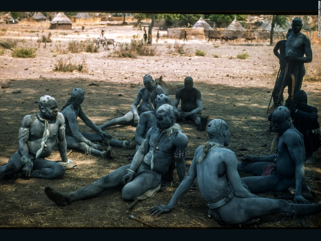 Korongo Nuba wrestlers wait to compete under the shade of a boabab tree, 1949.